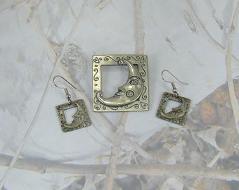 Vintage Etain Zinn Signed Seagull Canada Pewter Scrolling Moon Brooch and Earring Set