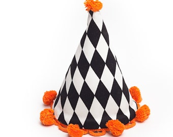 black and white circus fabric party hat