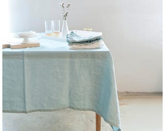 Linen tablecloth. Light mint BOHEMIAN tablecloth. Free shipping to US retail orders
