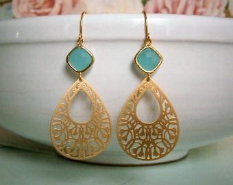 Aqua Turquoise Dangle Earrings, Sale, Gold Earrings, Turquoise Aqua Drop Earrings, Chandelier Earrings, Statement Earrings