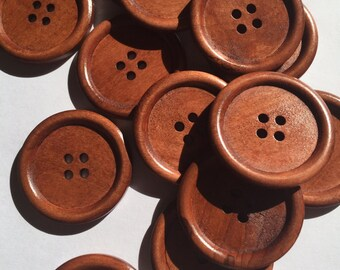SALE, Large Wooden Sewing buttons - New sew through matching brown round buttons, 25 pcs, 40 mm