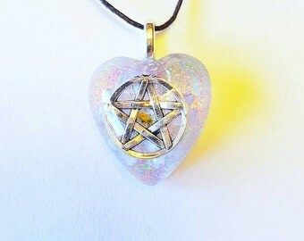 Pentacle Symbol Real Flower Nature Necklace Resin Glitter Star Pendant Bohemian Jewelry Pentagram Earth Pagan Wiccan Wicca Spiritual Heart