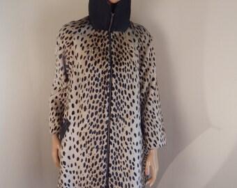 faux fur coat, leopard coat, vintage coat, 1950s coat, safari