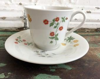 Vintage Teacup Tea Cup and Saucer  Royal Doulton Springtime Flowers English Bone China