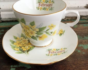 Vintage Yellow flower Tea Cup and Saucer Set for February English Bone China