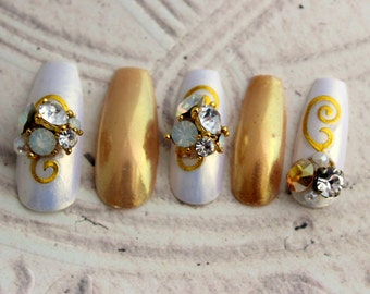 Deluxe Champagne Wish Coffin Fake Nails, Extra Long Fake Nails, Holiday Press On Nails, New Years Nails for Her, 3D Ballerina Fake Nails