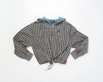 90s Jacket Hooded Plaid Slouchy Oversized Hoodie Plaid Zip Up Crop Top Soft Grunge Cropped Baggy Drawstring Pastel Goth Shirt Cotton Open Sz
