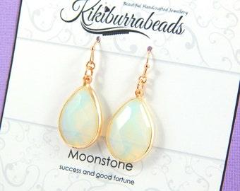 Moonstone Earrings, Gold Moonstone Earrings, Moonstone Jewelry,Natural Gemstone, Gemstone Jewelry