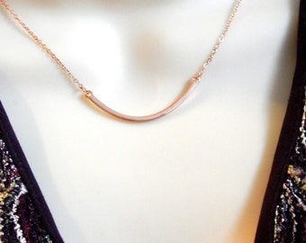 Rose Gold Bar Necklace, Layering Necklace, Dainty Jewelry