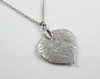 Silver Leaf Necklace,Leaf Necklace, Hammered Leaf Necklace,Simple Leaf Necklace