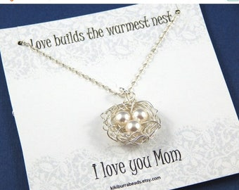 Mothers Day Sale Birds Nest Necklace , Birds Nest With Three Eggs, Mothers Necklace, Sterling Silver Chain