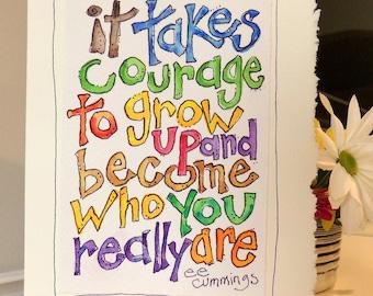 "e e cummings ""It Takes Courage""  Watercolor Original Strathmore Card 5"""" x 6 7/8"" & Envelope  betrueoriginals"