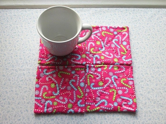 pink christmas candy canes hand quilted set of mug rugs coasters