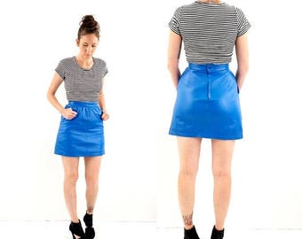 SPRING SALE vintage ELECTRIC blue Leather micro Mini skirt S