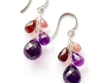 Red Garnet, Purple Amethyst and Pink Tourmaline Earrings. Genuine Natural Gemstones and Sterling Silver Earrings.