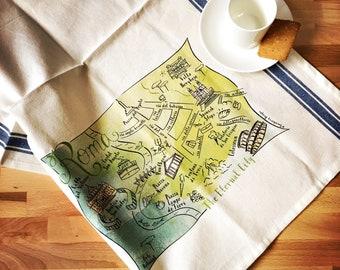 Roma Map Kitchen/Tea Towel