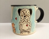 Dog and Squirrel Mug, BFFs, Blue Coffee Mug or Tea Mug with Spotted Dog and Squirrel, Animal Pottery