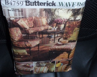 Butterick 4759 Waverly Outdoor Patio Cushions, Pillow Cover, Bag  New Uncut