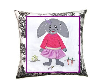 Custom Nursery Cushion Cover/ Wall Art, Easter Bunny/ Lop Bunny Rabbit in Dress