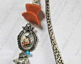 Mad Hatter bookmark charms altered art Alice in Wonderland tea time Fantasy tale collector collectible tea cup Top Hat