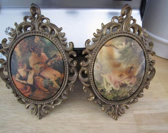 Courtisane Fabric Pictures in Florentine Oval Brass Frames