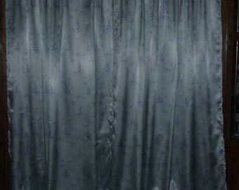 VINTAGE Silk Curtains 2 Long Panels Custom Made