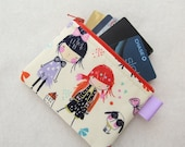 Cute Hipster Girls Womens Credit Card Case Zippered Coin Purse Wallet Business Card Holder Alexander Henry Fabric Redheads Girl with Books
