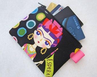 Esperanza Artist Frida Kahlo Womens Credit Card Case Zippered Coin Purse Wallet Business Card Holder Fabric Alexander Henry Black Colorful
