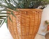 RESERVED.....Vintage Large Rattan Wicker Planter Pot ~ Planter Basket ~ Jungalow Wicker Basket