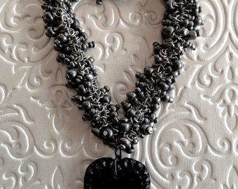 Vintage Black Glass Heart Beaded Bracelet