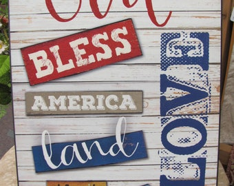 Patriotic Wall Decor,God Bless America,Wooden Art Sign,Marla Rae,12x16