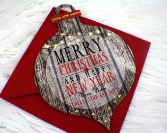 Rustic Christmas Ornament Card  | Greetings | Merry Christmas | Holiday card | Happy Holidays | Red | Gray | Lights | Wood Pattern | Crystal