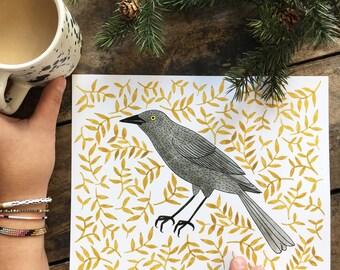 Blackbird   Digital print of original illustration