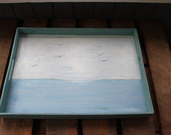 Coffee Table Tray , Hand Painted Seascape Serving Tray , Coastal Home Decoration CD5645