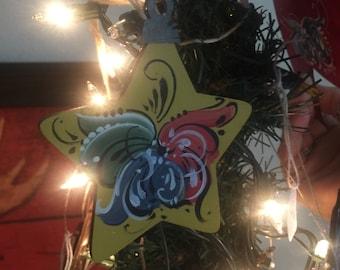 Norwegian rosemaled star ornament
