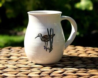 Ceramic SANDPIPER Mug - Handmade White Stoneware Sandpiper Shore Bird Mug - Ready To Ship