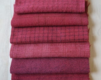 Pink - Red - Petunia Hand Dyed Felted Wool in a Beautiful Collection a Perfect Rug Hooking and Applique Wool