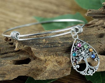 Family Tree Birthstone Bracelet, Sterling Silver Tree of Life Bangle Bracelet, Grandma Charm Bracelet, Mothers Day Gift, Gift for Grandma