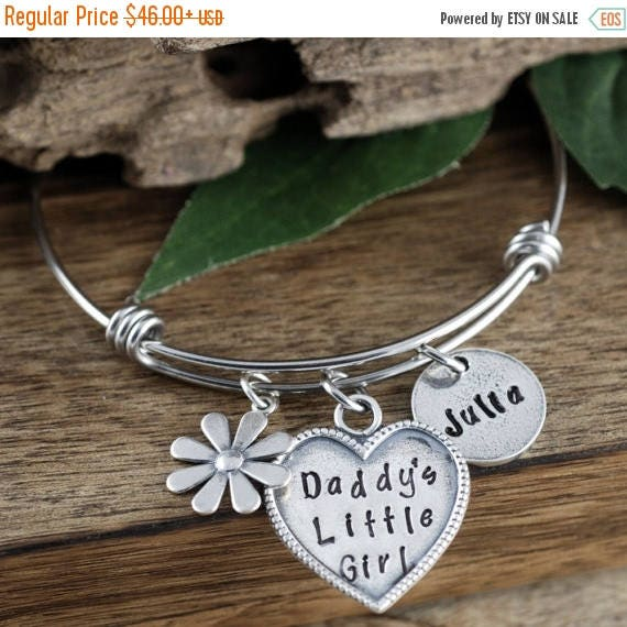 15% OFF SALE Daddy's Little Girl Bracelet, Gift for Daughter, Personalized Jewelry, Hand Stamped Bracelet, Flower Bangle Bracelet, Flower Ch