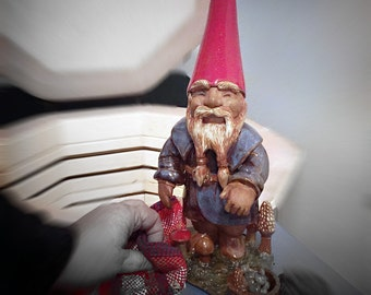 Gnome Sculpture - The Mushroom Picker - Handmade Original Clay Art