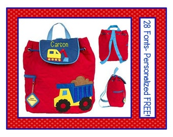28 Fonts- Toddler CONSTRUCTION Personalized Red  Quilted Backpack- Preschool/ Daycare Bag Monogrammed FREE!