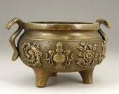Asian Brass INCENSE Burner Chinese Censer Handmade