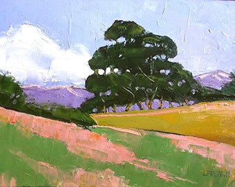 IMPRESSIONIST Oil Painting California Plein Air Landscape OAK TREES Wildflower Hills Lynne French 12x16