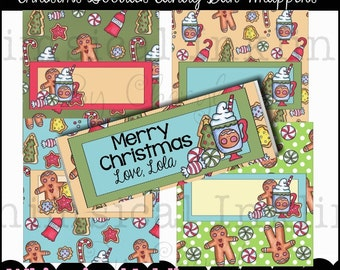 Christmas Goodies Candy Bar Wrappers, set of 4  - Digital Printable - Immediate Download