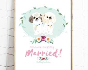 Custom Wedding Portrait - Wedding Invite  - Personalised Pet Drawing - Illustrated Wedding Gift  -Dogs - Cats -  Print or Digital File