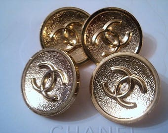 Lot of 4 CHANEL CC Gold Color Metal Buttons , Large size 25 mm