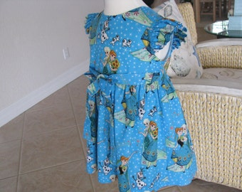 Anna, Elsa, Olaf plus More from Frozen, All Cotton Size 4 Wrap Dress Summer