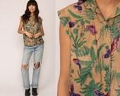 Butterfly Shirt Leaf Print TROPICAL Blouse Jungle Boho Button Up 80s Top Bohemian Vintaget 1980s Purple Tan Green Short Sleeve Medium