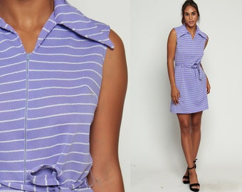 Striped Dress Mod 60s Mini Front Zip Gogo Purple Vintage 70s Shift Collar Twiggy 1970s Sleeveless Belted Minidress Large