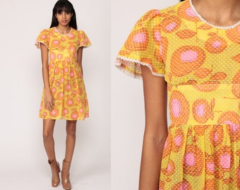 Babydoll Mini Dress 60s Mod Floral 70s Boho Empire Waist Psychedelic Yellow Pink Garden Party Vintage Flutter Sleeve Bohemian Extra Small xs